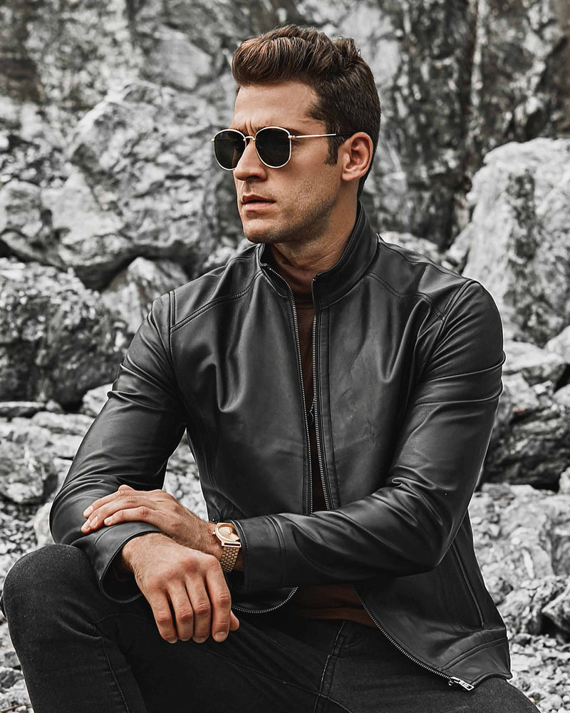 Moto Leather Jacket - Luidi [Black] - Alexandre León