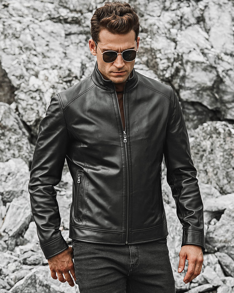mens-Moto Leather Jacket - Luidi [Black] - Alexandre León