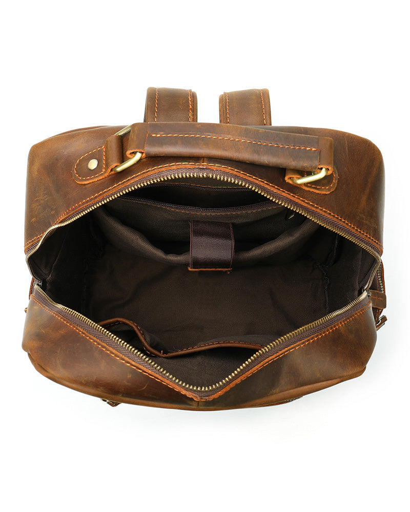 mens-Leather Backpack - Ashburn [Coffee Brown] - Alexandre León