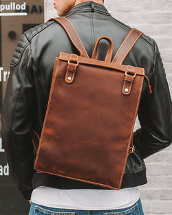 Leather Backpack - Courier [Coffee Brown] - Alexandre León