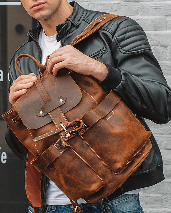 mens-Leather Backpack - Rusland [Coffee Brown] - Alexandre León