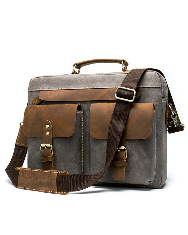 mens-Leather Briefcase/ Laptop Bag - Clark [Two Tone] - Alexandre León