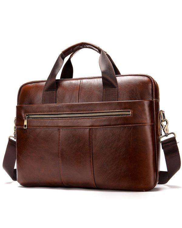 mens-Leather Briefcase/ Laptop Bag - Hugo [Coffee Brown] - Alexandre León