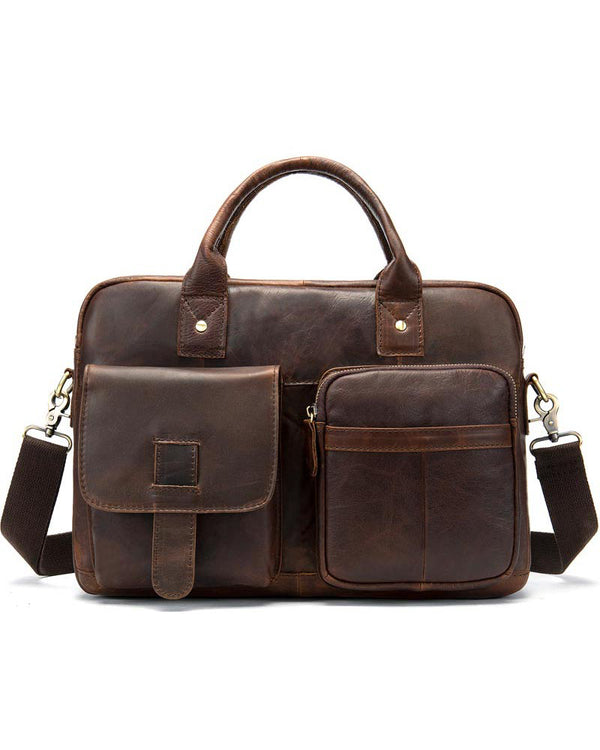 Leather Briefcase/ Laptop Bag - Lorenzo [Coffee Brown] - Alexandre León