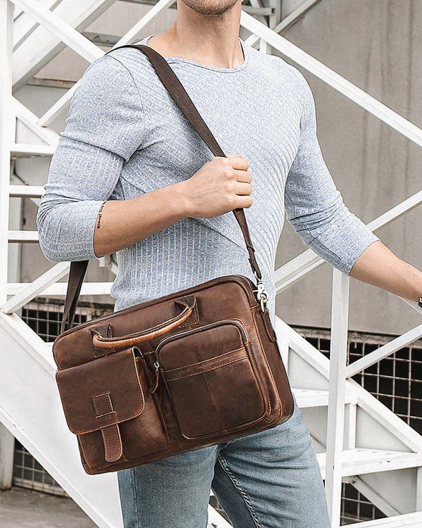 mens-Leather Briefcase/ Laptop Bag - Lorenzo [Coffee Brown] - Alexandre León
