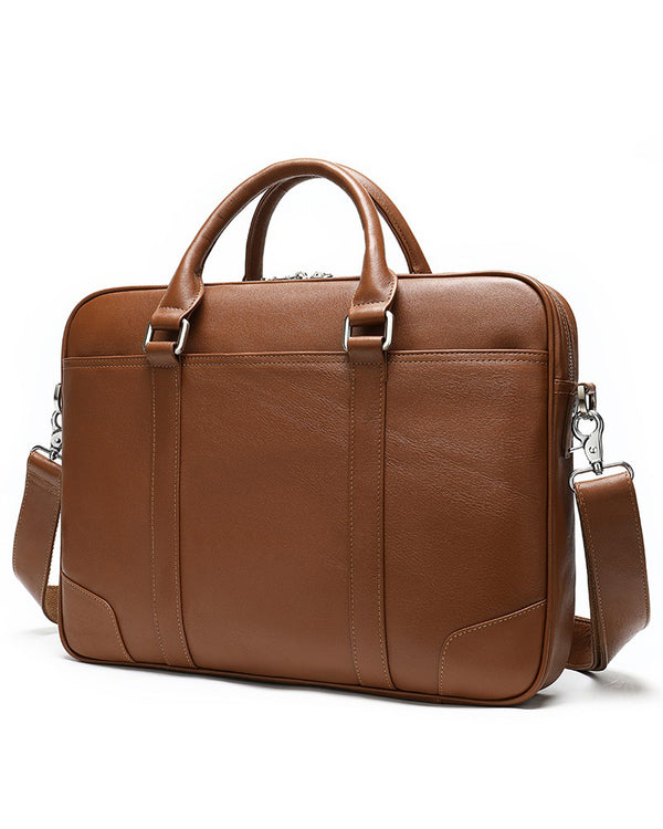 Leather Briefcase/ Laptop Bag - Murray [Brown] - Alexandre León