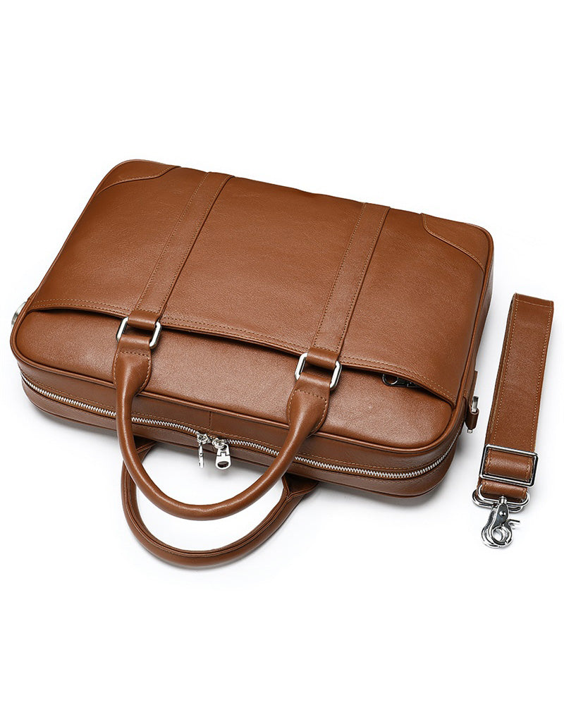 mens-Leather Briefcase/ Laptop Bag - Murray [Brown] - Alexandre León