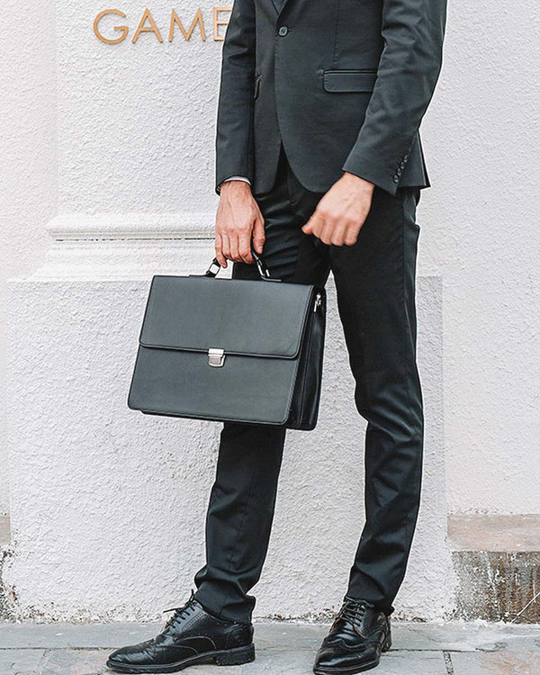 mens-Leather Briefcase/ Laptop Bag - Oxford [Black] - Alexandre León