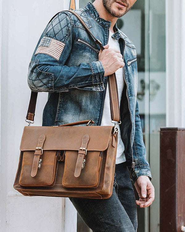 Leather Briefcase/ Laptop Bag - Rolondo [Brown] - Alexandre León