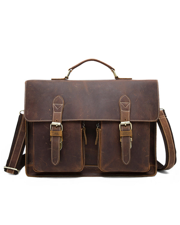 mens-Leather Briefcase/ Laptop Bag - Rolondo [Brown] - Alexandre León