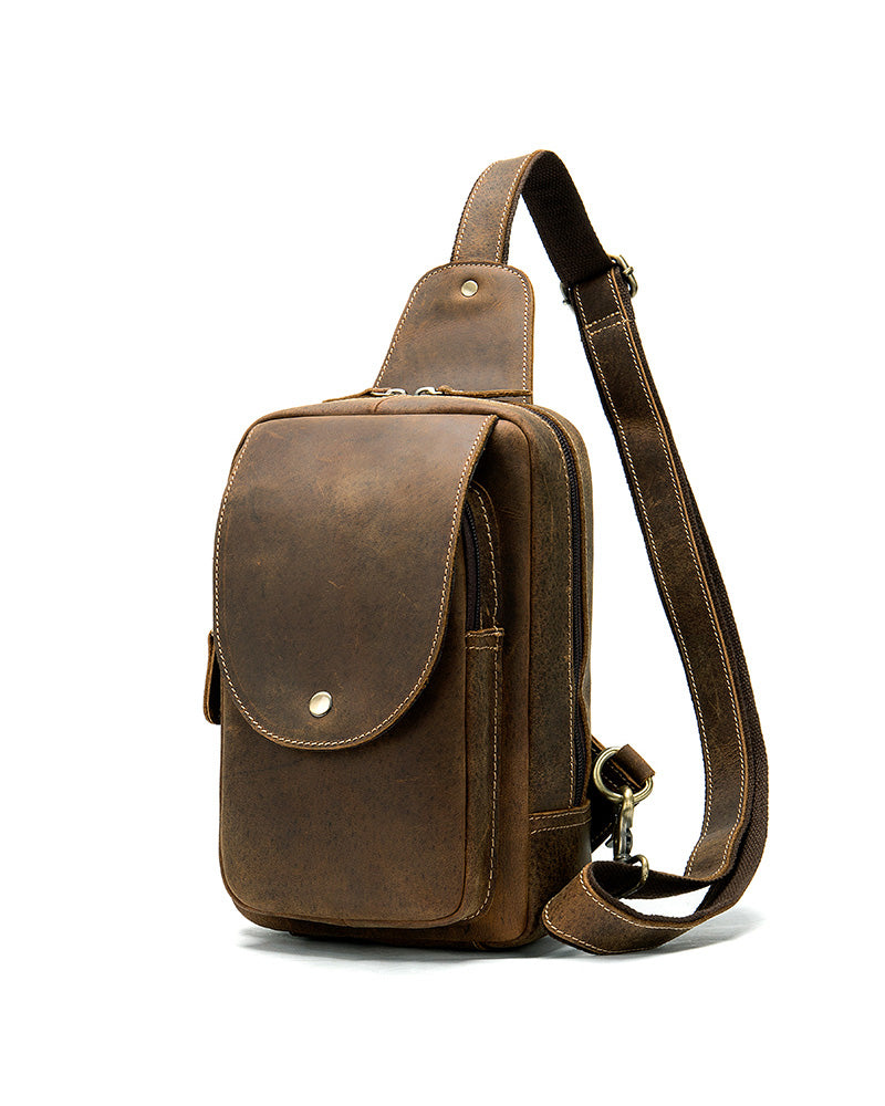 mens-Leather Crossbody Bag/ Man Purse - Malconi [Brown] - Alexandre León