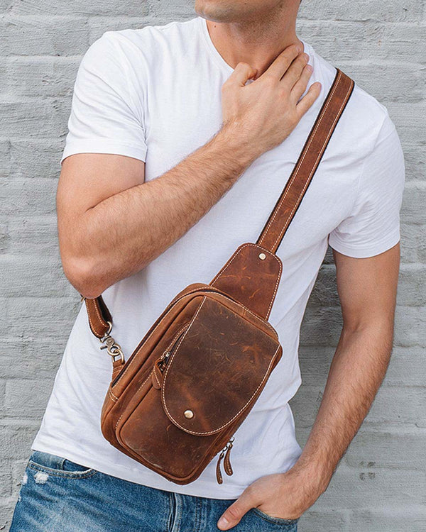 Leather Crossbody Bag/ Man Purse - Malconi [Brown] - Alexandre León
