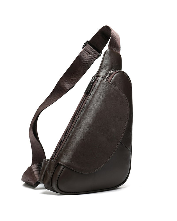 mens-Leather Crossbody Bag/ Man Purse - Rodrigo [Dark Coffee Brown] - Alexandre León