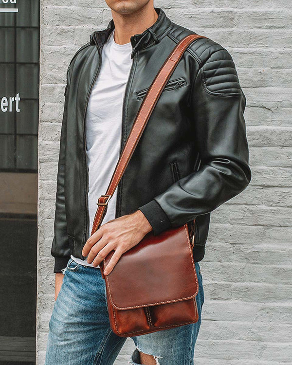 mens-Leather Man Purse/ Mini Messenger Bag - Roy [Coffee Brown] - Alexandre León
