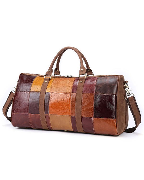 mens-Leather Duffel Bag - Avery [Brown] - Alexandre León