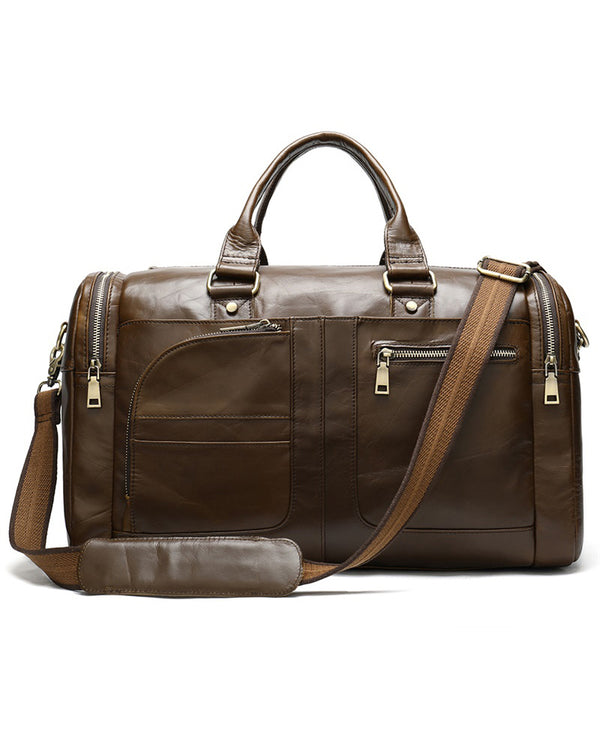 mens-Leather Duffel Bag - Hudson [Brown] - Alexandre León
