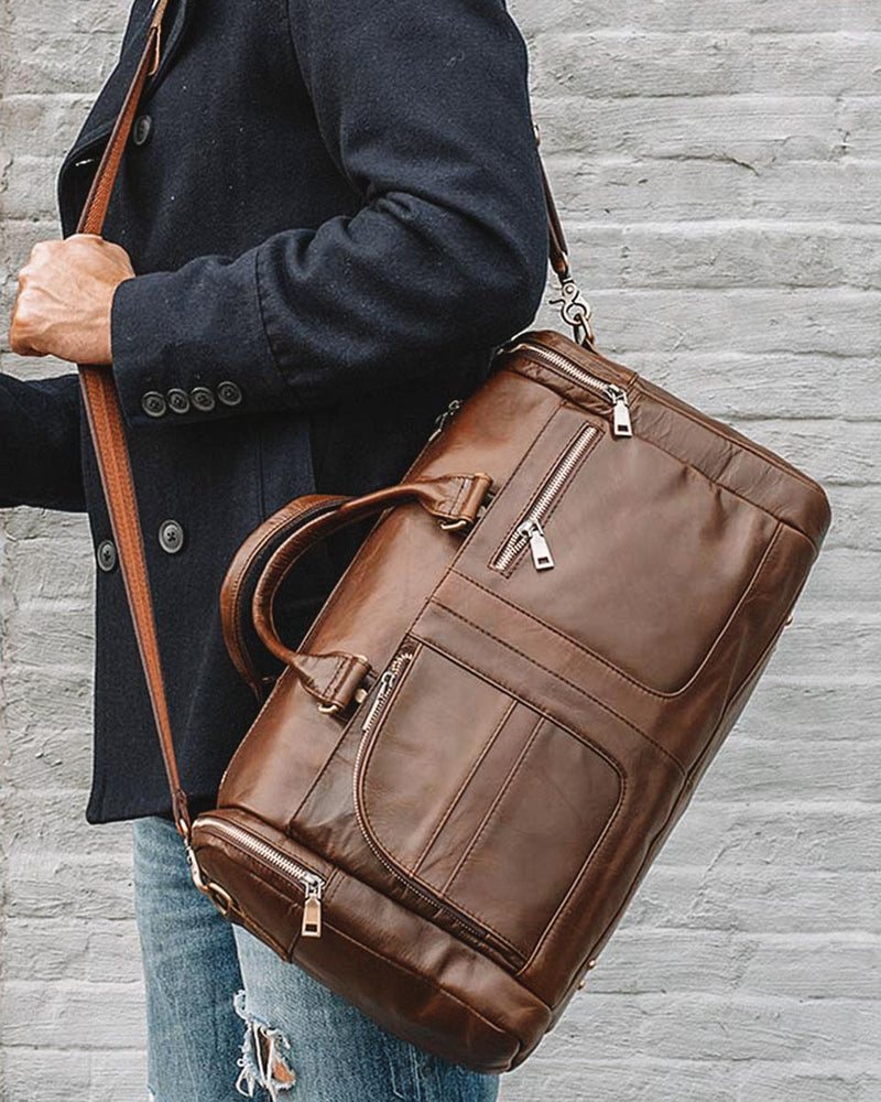 Leather Duffel Bag - Hudson [Brown] - Alexandre León