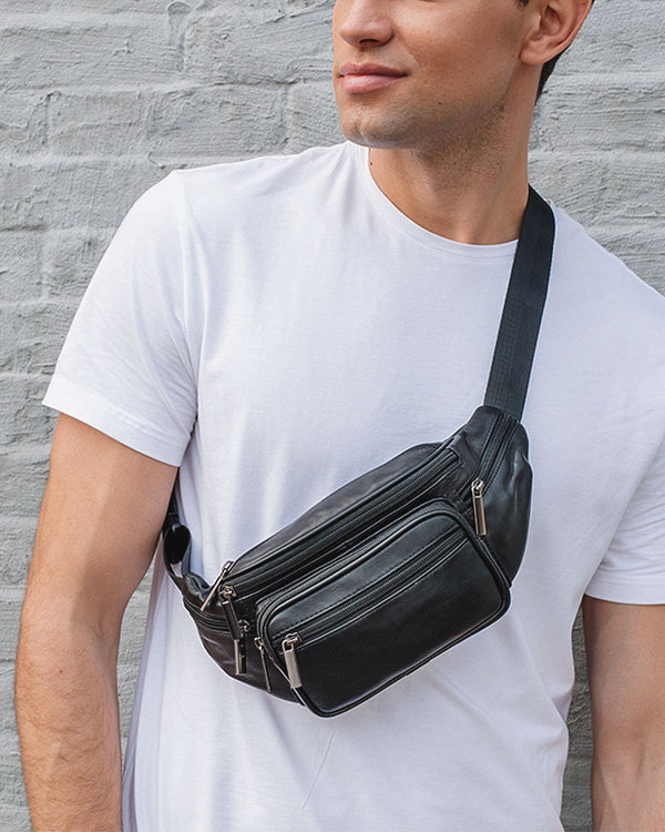 mens-Leather Fanny Pack/ Waist Bag - Denver [Black] - Alexandre León