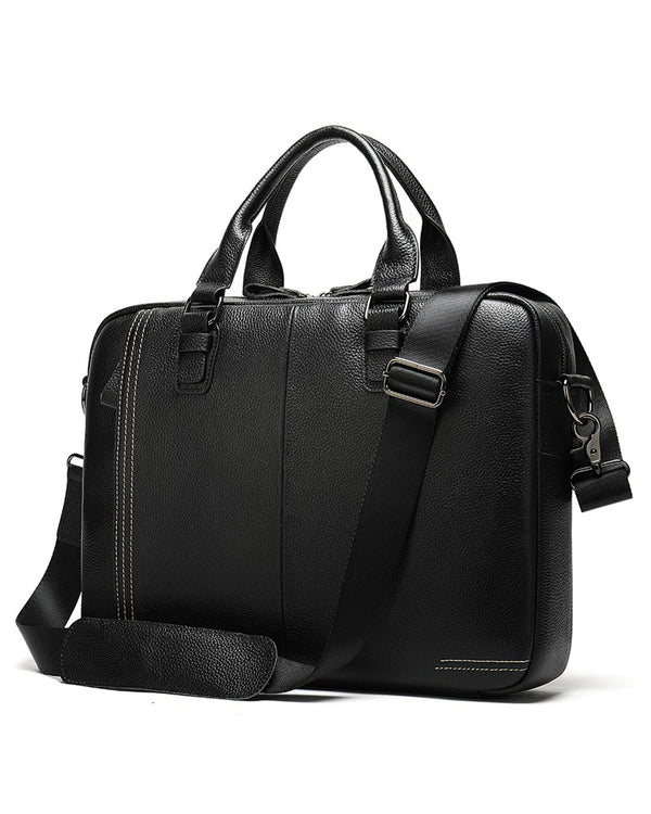 Leather Briefcase/ Laptop Bag - Parson [Black] - Alexandre León