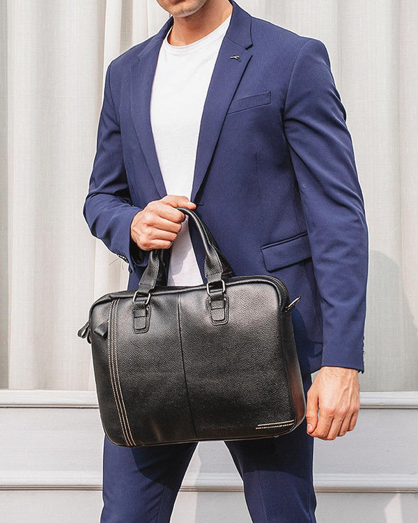 mens-Leather Briefcase/ Laptop Bag - Parson [Black] - Alexandre León