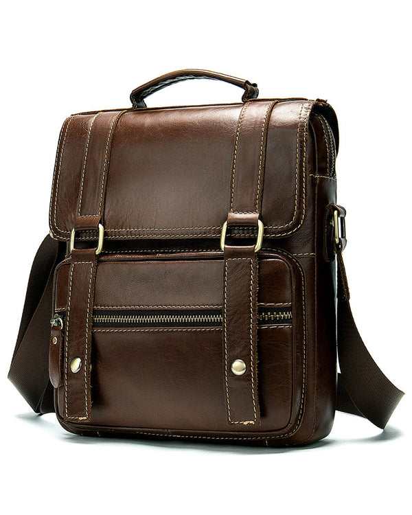 mens-Leather Man Purse/ Mini Messenger Bag - Anderson [Coffee Brown] - Alexandre León
