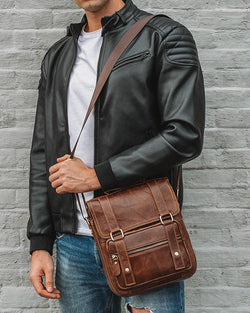 Leather Man Purse/ Mini Messenger Bag - Anderson [Coffee Brown] - Alexandre León