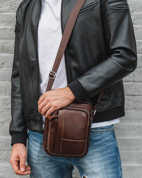 Leather Man Purse/ Mini Messenger Bag - Cabot [Coffee Brown] - Alexandre León