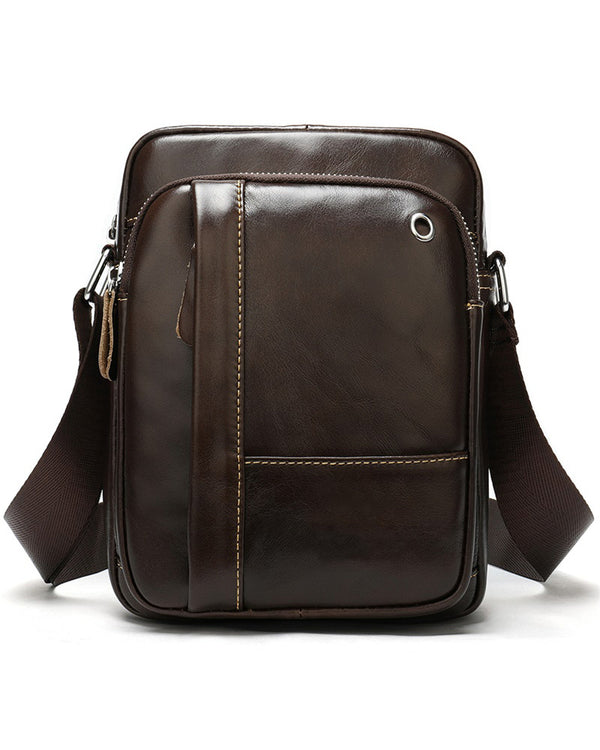 mens-Leather Man Purse/ Mini Messenger Bag - Cabot [Coffee Brown] - Alexandre León