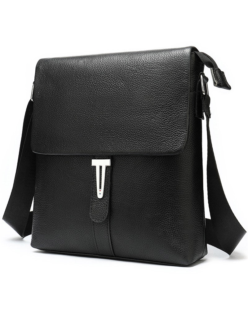 mens-Leather Man Purse/ Mini Messenger Bag - Christian [Black] - Alexandre León