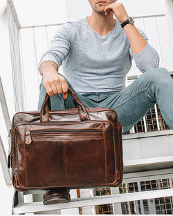 Leather Briefcase/ Travel Bag - Dane [Coffee Brown] - Alexandre León