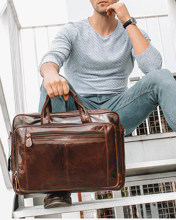 mens-Leather Briefcase/ Travel Bag - Dane [Coffee Brown] - Alexandre León