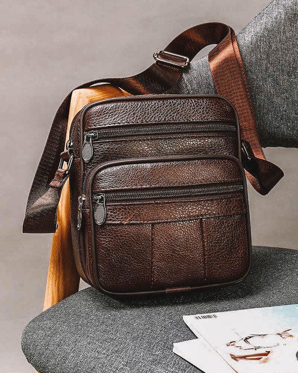 mens-Leather Man Purse/ Mini Messenger Bag - Dario [Coffee Brown] - Alexandre León