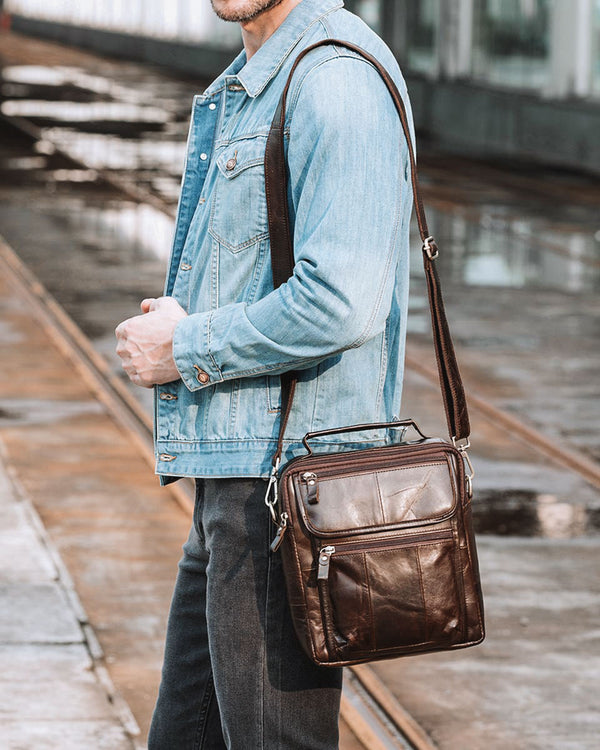mens-Leather Man Purse/ Mini Messenger Bag - Geneve [Coffee Brown] - Alexandre León