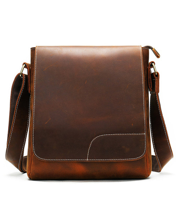 mens-Leather Man Purse/ Mini Messenger Bag - Harrod [Coffee Brown] - Alexandre León