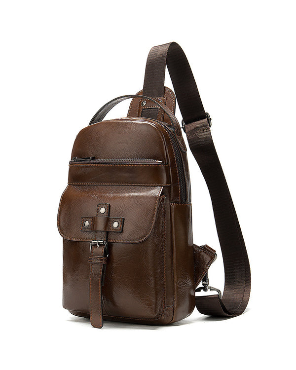 mens-Leather Crossbody Bag/ Man Purse - Monte [Coffee Brown] - Alexandre León