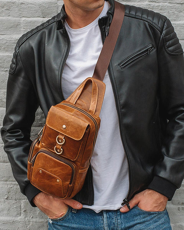 mens-Leather Crossbody Bag/ Man Purse - Roosevelt [Tan] - Alexandre León