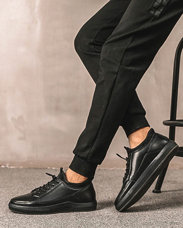 mens-Leather Casual Shoes - Perry [Black] - Alexandre León