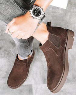 mens-Leather Chelsea Boots - Fox [Coffee Brown] - Alexandre León