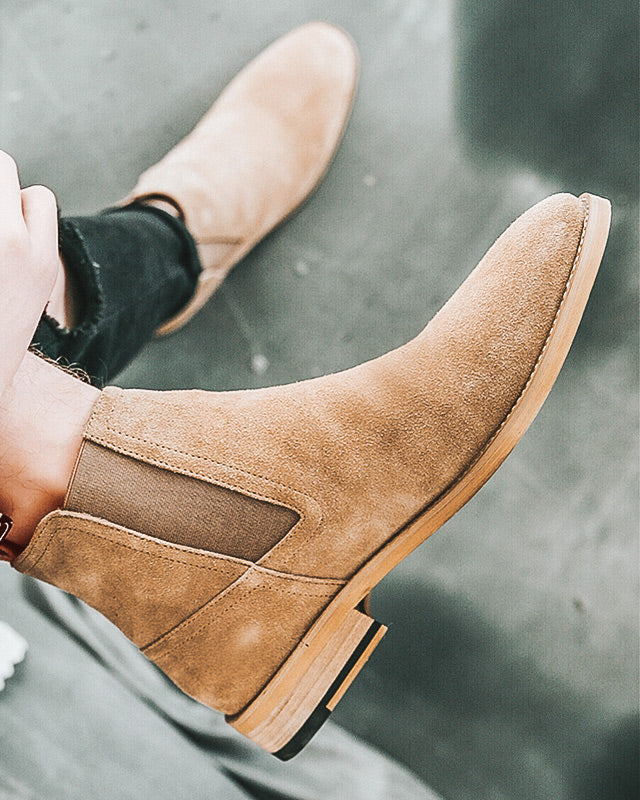 mens-Leather Chelsea Boots - Thomas [Brown] - Alexandre León