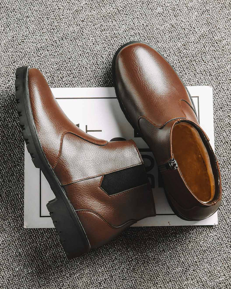 mens-Leather Chelsea Boots - Zayn [Coffee Brown] - Alexandre León