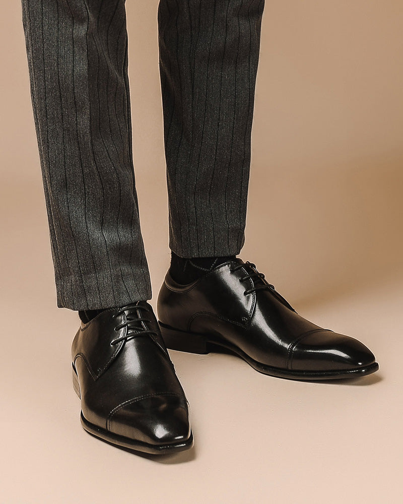Leather Derby Shoes - Edward [Black]