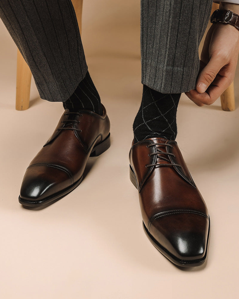 Leather Derby Shoes - Edward [Coffee Brown]