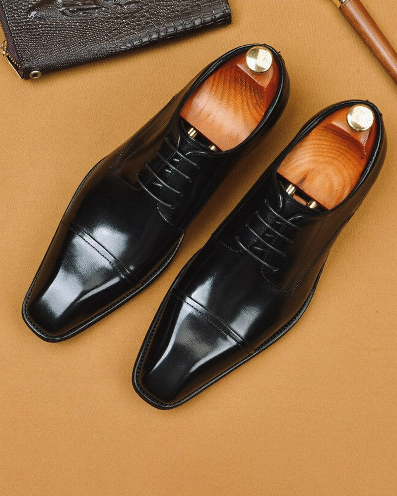 Leather Derby Shoes - George [Black]