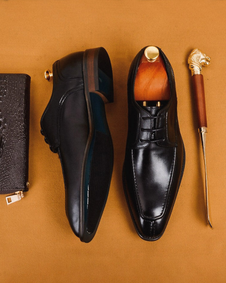 Leather Derby Shoes - Kenneth [Black]