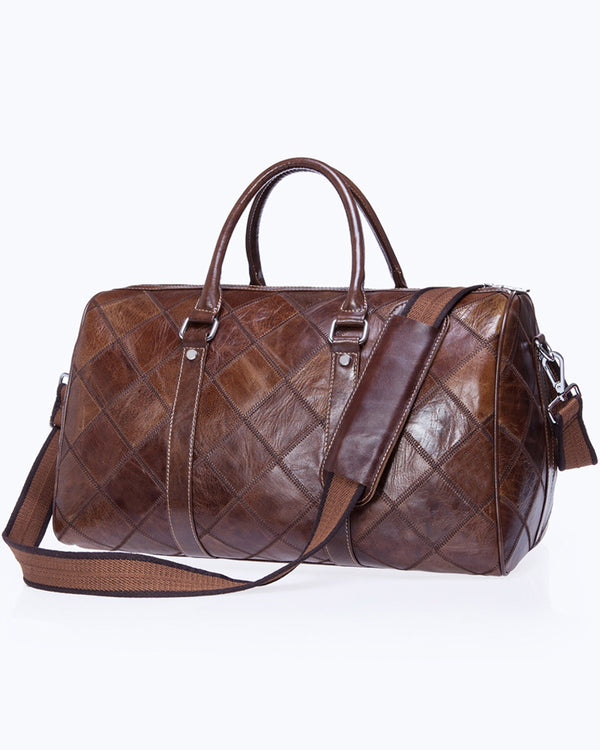 mens-Leather Duffel Bag - Gualtieri [Coffee Brown] - Alexandre León