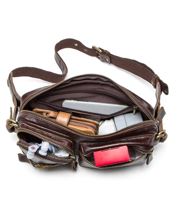 mens-Leather Fanny Pack/ Waist Bag - Alrigo [Brown] - Alexandre León