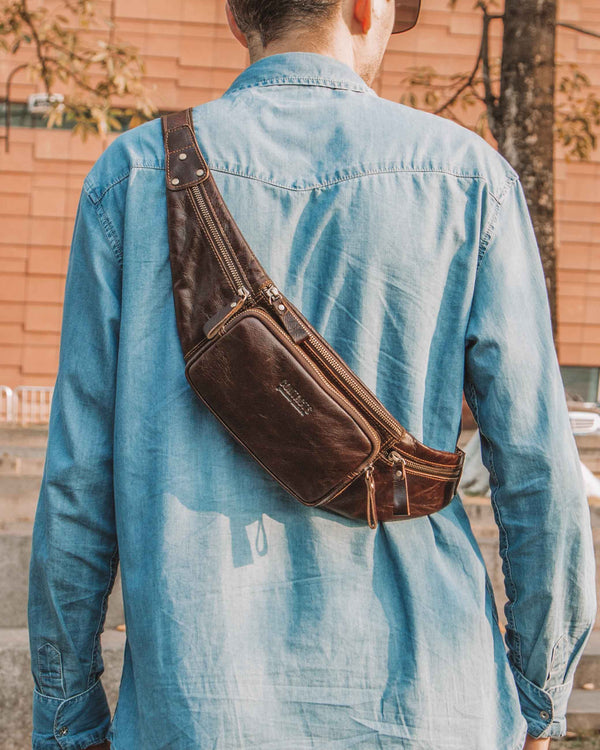 mens-Leather Fanny Pack/ Waist Bag - Carlo [Brown] - Alexandre León