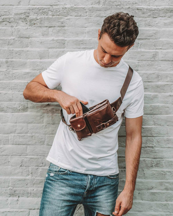 mens-Leather Fanny Pack/ Waist Bag - Explorer [Brown] - Alexandre León