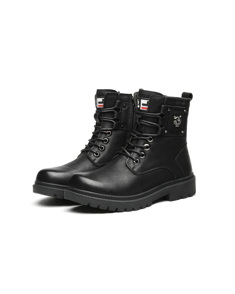 Leather Lace Up Work Boots - Eli [Black] - Alexandre León