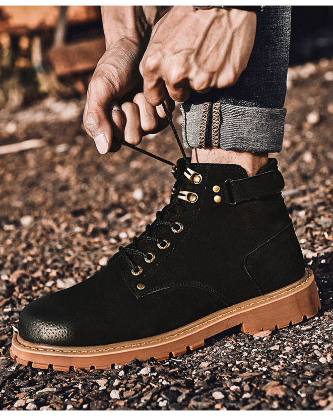 Leather Lace Up Work Boots - Jesse - Alexandre León | black